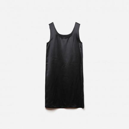 设计基本款-黑亮缎重磅真丝直身背心裙