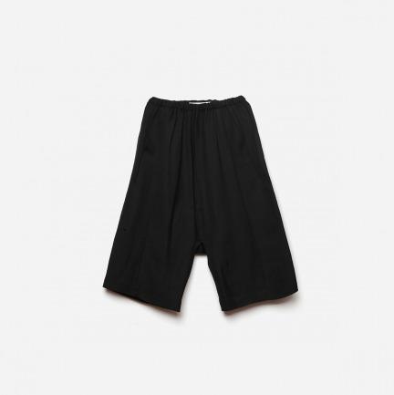 设计基本款-墨色亚麻三片立裁阔腿七分裤