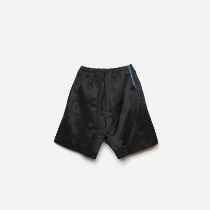 设计基本款-墨黑真丝重缎三片立裁阔腿五分裤