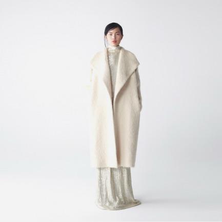 【无现货定制 2周后发货】2014A/W奶白色羊驼毛披肩式外套