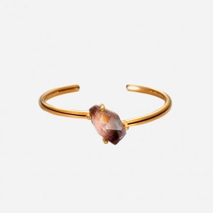 宇宙能量单石手镯 | 铜镀24K金 紫/粉水晶原石
