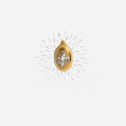 【月光1】 纯银镶嵌镀金胸针