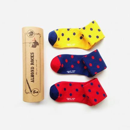 英伦三色波点中筒袜套装(红黄蓝)