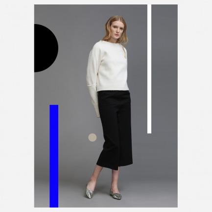 纯澳毛羊毛呢简约超长袖设计上衣【预订款】