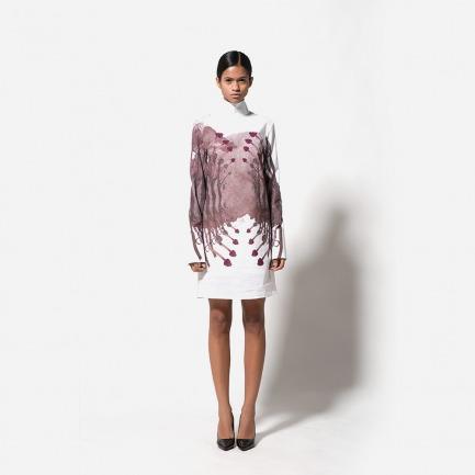 高领数码印花衬衫裙(花枝)