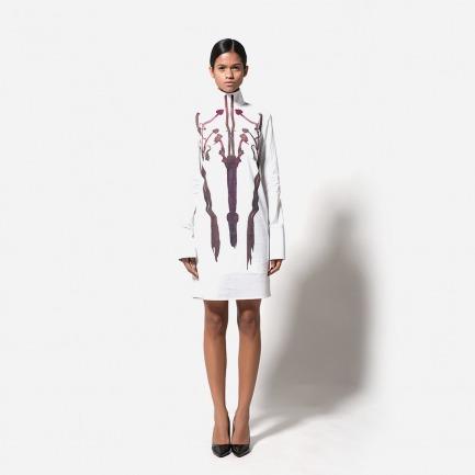 高领数码印花衬衫裙(十七世纪花枝)