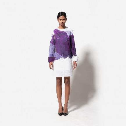 数码印花衬衫裙(白底多块桔梗花)