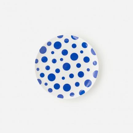 蓝色波点图案骨瓷盘