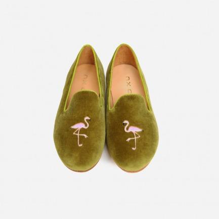 绿色面桃红火烈鸟乐福鞋