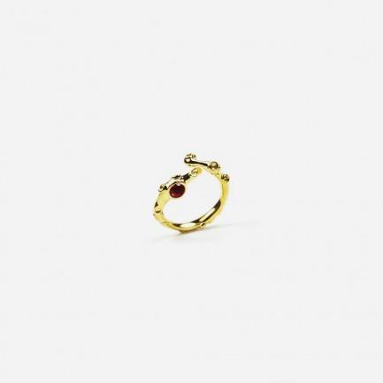 作怪的章鱼系列 镶石开口戒指(金色)