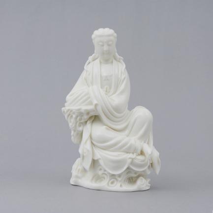 蒋家班造白瓷自在观音像 | 细腻滋润 犹如白玉