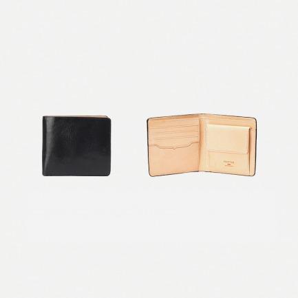 植鞣真牛皮短款钱包(黑色)零钱袋