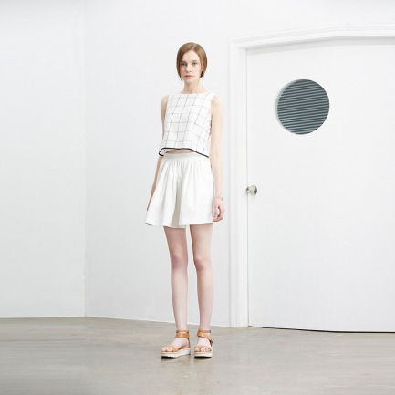 白色提花阔型半裙