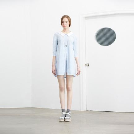 Simply Grid 小蓝格中袖阔领衬衫裙