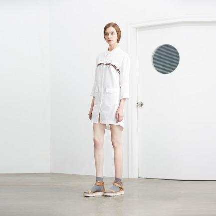 Simply White 豹纹装饰oversize长款衬衣