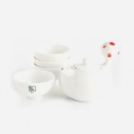 北漂的味道圆把茶壶套装(红色)