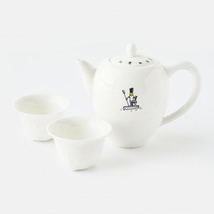 北漂的味道侧把茶壶套装(贴花)