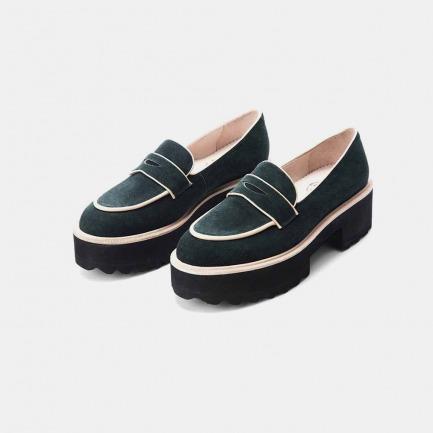 LUCKY STRIKE2/2-好彩系列 厚跟深墨绿羊筋绒樂福鞋【预售十五天后发货】