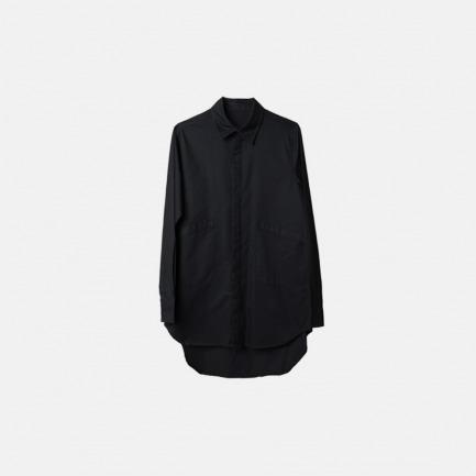 双口袋长后摆设计长款长袖衬衫