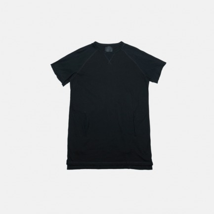 黑色简约长款插袋插肩短袖T恤