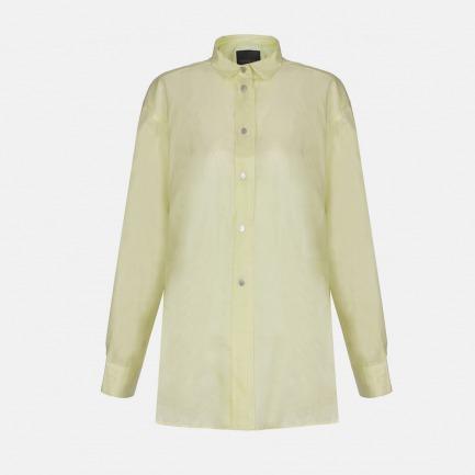 装饰扣真丝长袖衬衫(AA151021519)