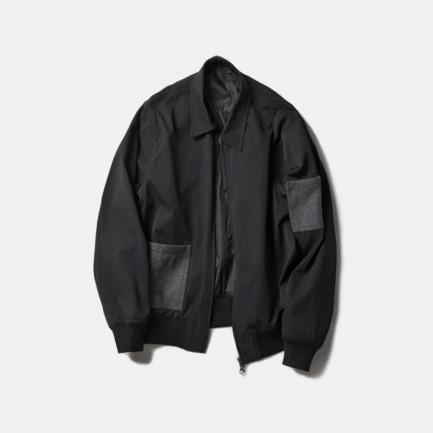 黑色羊毛口袋夹克衫(WOOLEN POCKET PANEL BLOUSON/BLACK)