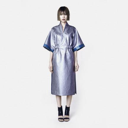 仿皮中袖连衣裙(银色)