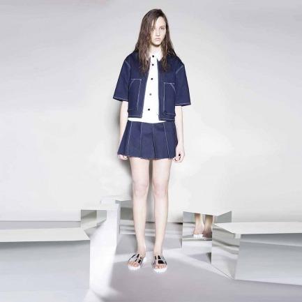 牛仔百叶短裙(LW15SsB06001-1CC08-ABC)