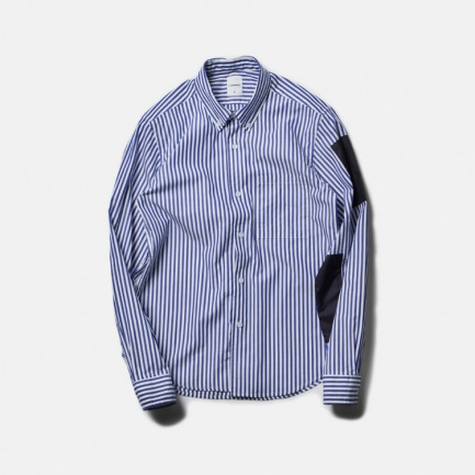 尼龙条纹拼接衬衫(NYLON PATCH REGULAR SLEEVE B.D SHIRT/NAVY)