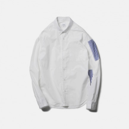 条纹拼接常规袖衬衫(FRINGE PATCH REGULAR SLEEVE B.D SHIRT/WHITE)