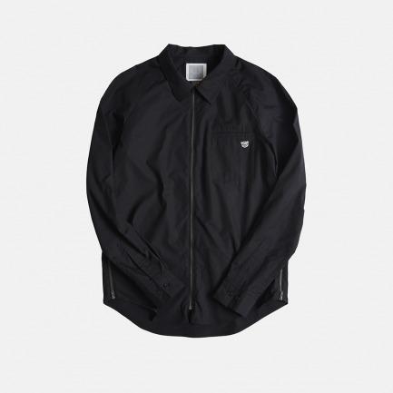 拉链款插肩袖衬衫(黑)
