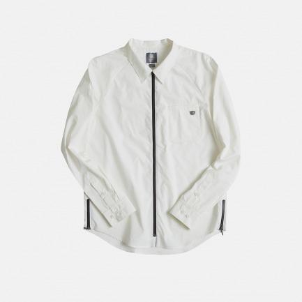 拉链款插肩袖衬衫(白)