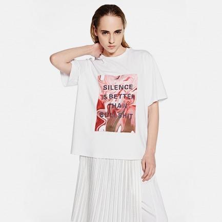 """""""SILENCE IS BETTER THAN BULLSHIT"""" 趣味字母T恤"""