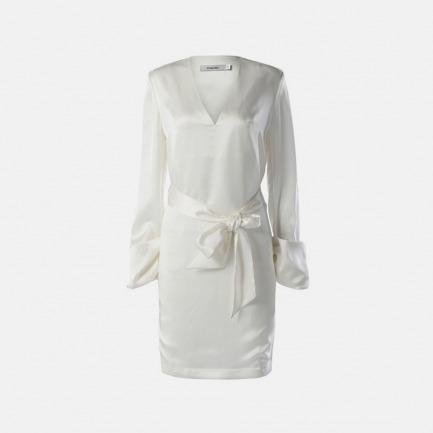 真丝斜纹卷袖连身裙(白色)
