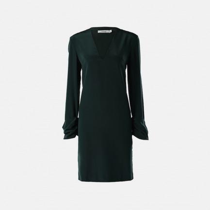 真丝斜纹卷袖连身裙(深墨绿)