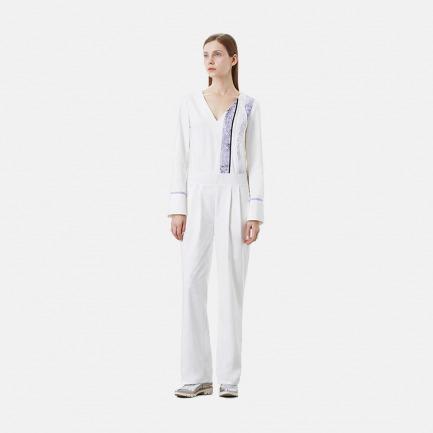印花拼接白色连体裤