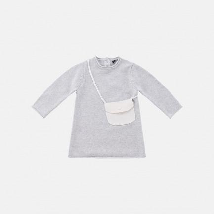精梳棉背包毛衫裙(浅灰色)