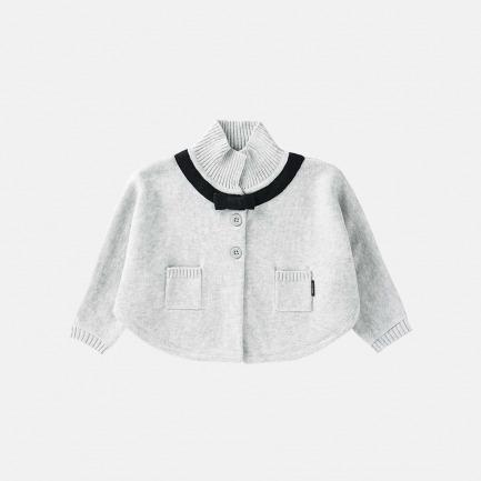 精梳棉蝴蝶结斗篷(浅灰色)