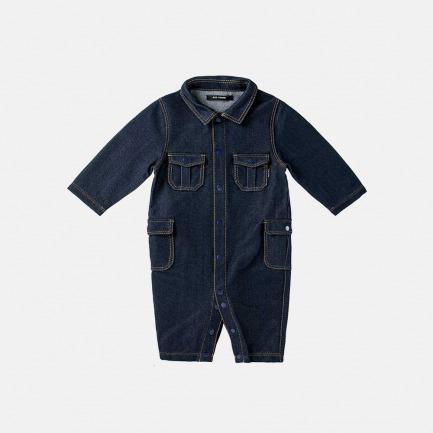 针织牛仔工装连体衣(蓝色)