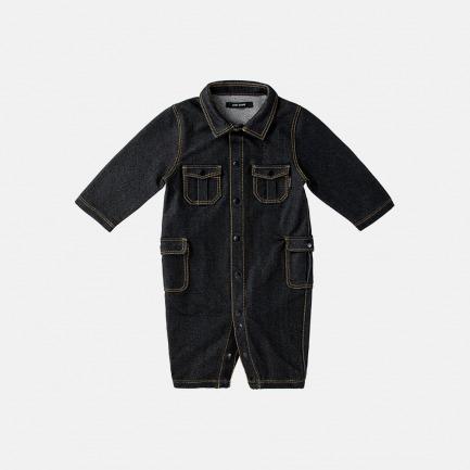 针织牛仔工装连体衣(乌黑色)