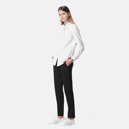 基本款叠袖白衬衫系腰式羊毛长裤组合