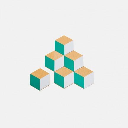 木质几何造型隔热垫(绿/灰)