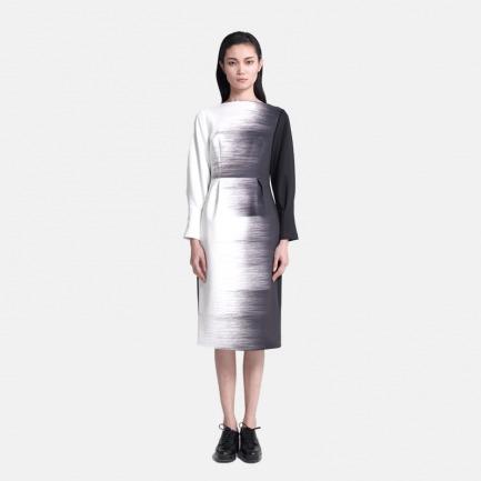 黑白渐变连衣裙