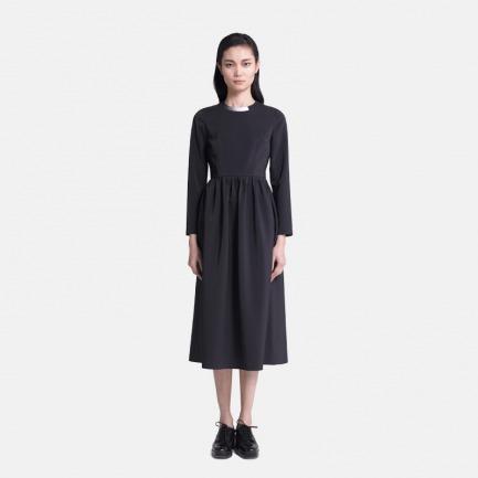 黑色印花领连衣裙