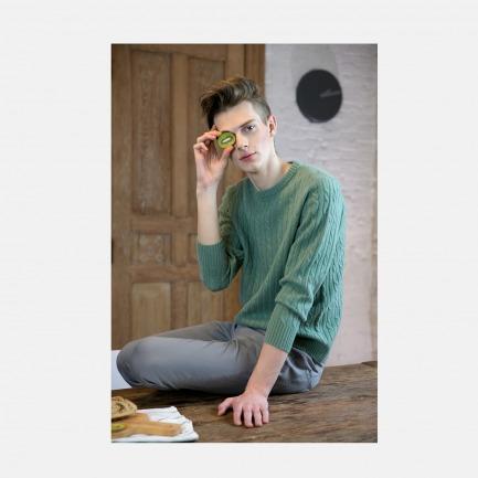 100%羊绒阿兰风格粗针绞花套衫 绿/黄/橙/驼/深灰色