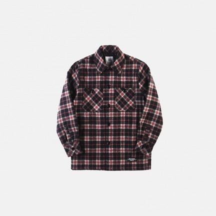 格子羊毛衬衫界棉外套