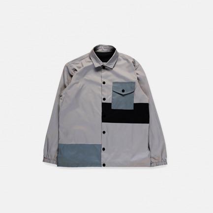 色块拼接工装衬衫