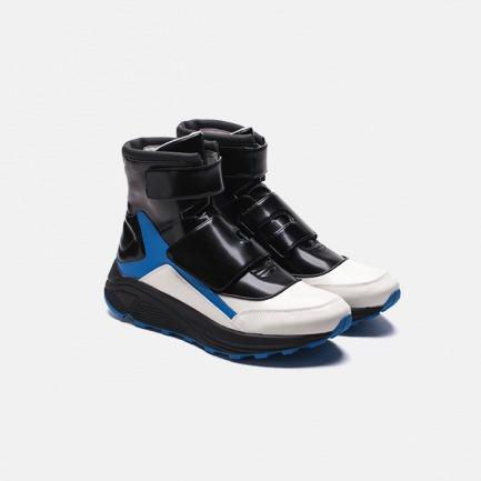黑白蓝拼色高帮魔术贴户外跑步鞋