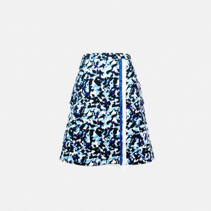 抽象图案不对称流苏牛仔A型裙【定制 两周内发货】