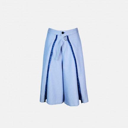 冷蓝斜纹立体撘片流苏八分阔腿裤【定制 两周内发货】